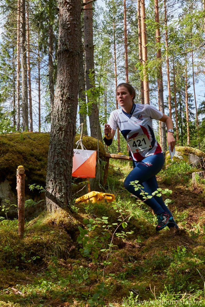 Grace Molloy racing hard at JWOC 2017 in the great outdoors