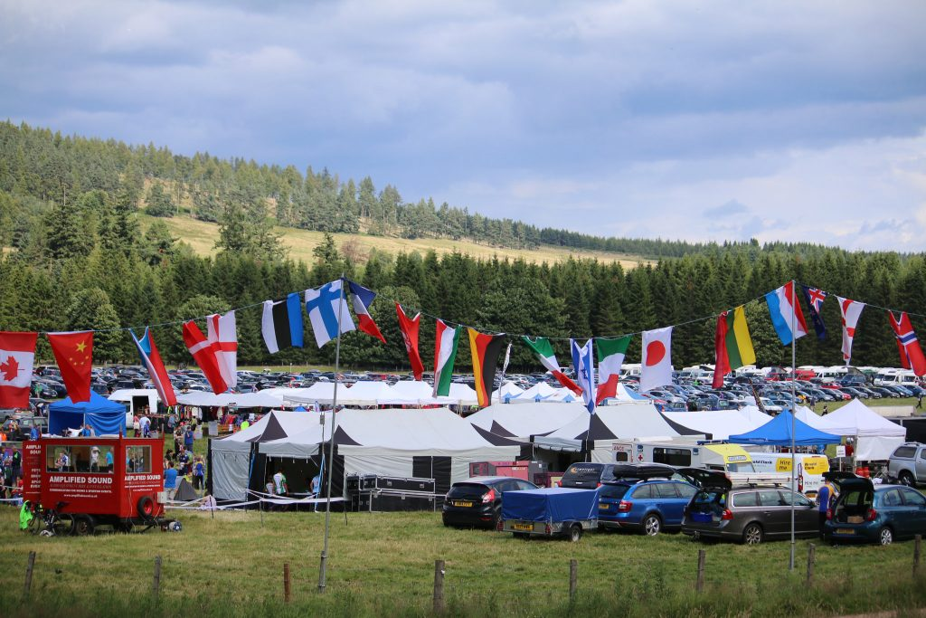 Event site at Scottish orienteering event in Deeside in the great Scottish outdoors