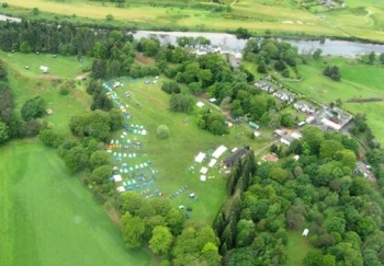 Arial view of an orienteering event in the great outdoors by a river