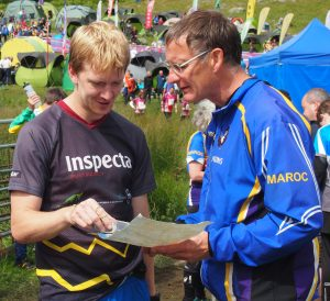 Orienteers discussing route choice